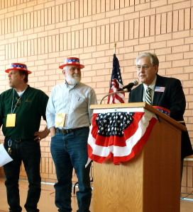 Tommy Johnson, Norb Gernes and Jeff Strate at the Senate District 48 DFL Convention, March 8, 2014.