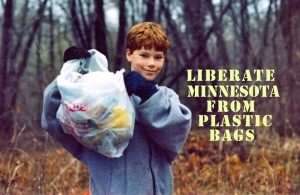 Boy with collected litter.