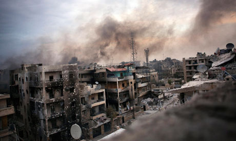 Shelled buildings in Aleppo